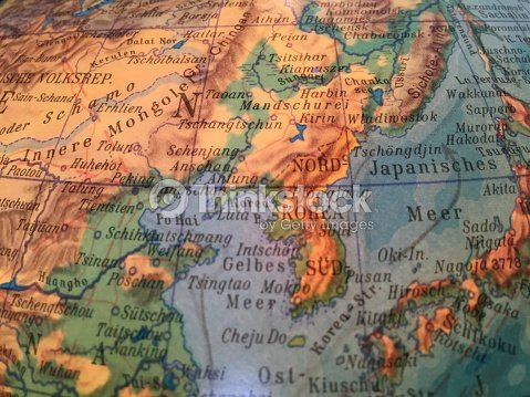 Globus Karte.Nordkorea Sued Korea Karte Alter Globus Weltkarte Stock