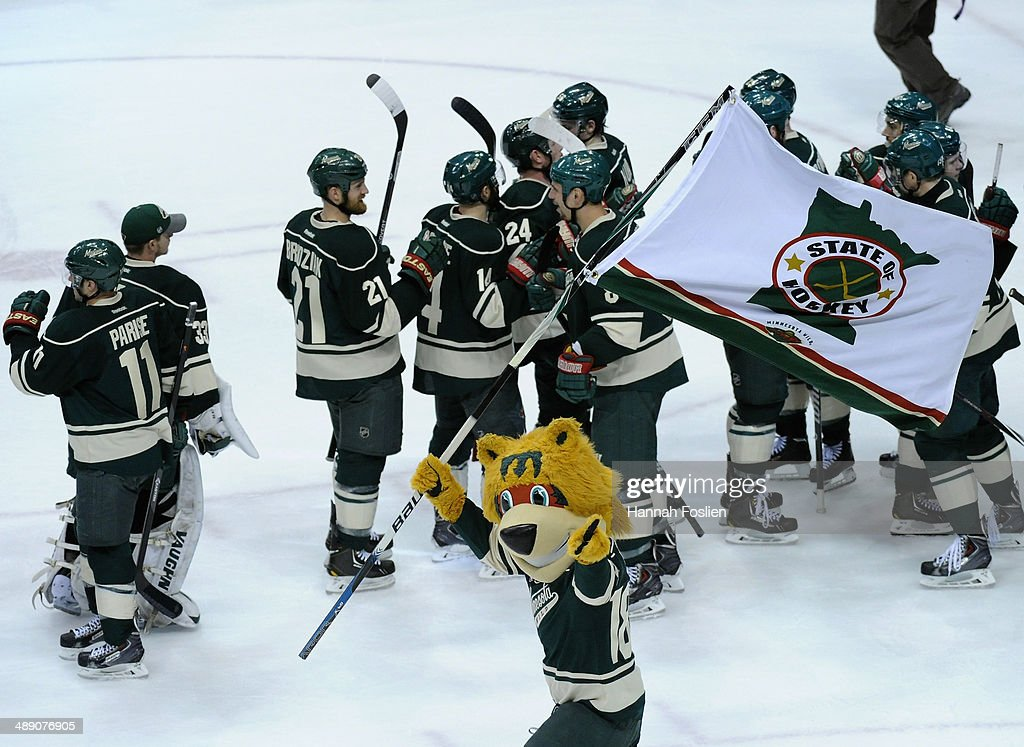 Nordy, mascot for the Minnesota Wild performs as the Minnesota Wild celebrate a win of Game Four of the Second Round of the 2014 NHL Stanley Cup Playoffs against the Chicago Blackhawks on May 9, 2014 at Xcel Energy Center in St Paul, Minnesota. The Wild defeated the Blackhawks 4-2.
