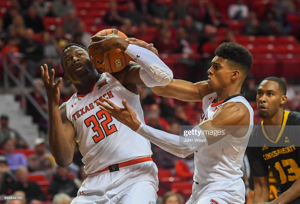 Norense Odiase #32 of the Texas Tech Red Raiders controls the rebound during the game against the Kennesaw State Owls on December 13, 2017 at United Supermarkets Arena in Lubbock, Texas. Texas Tech defeated Kennesaw State 82-53.