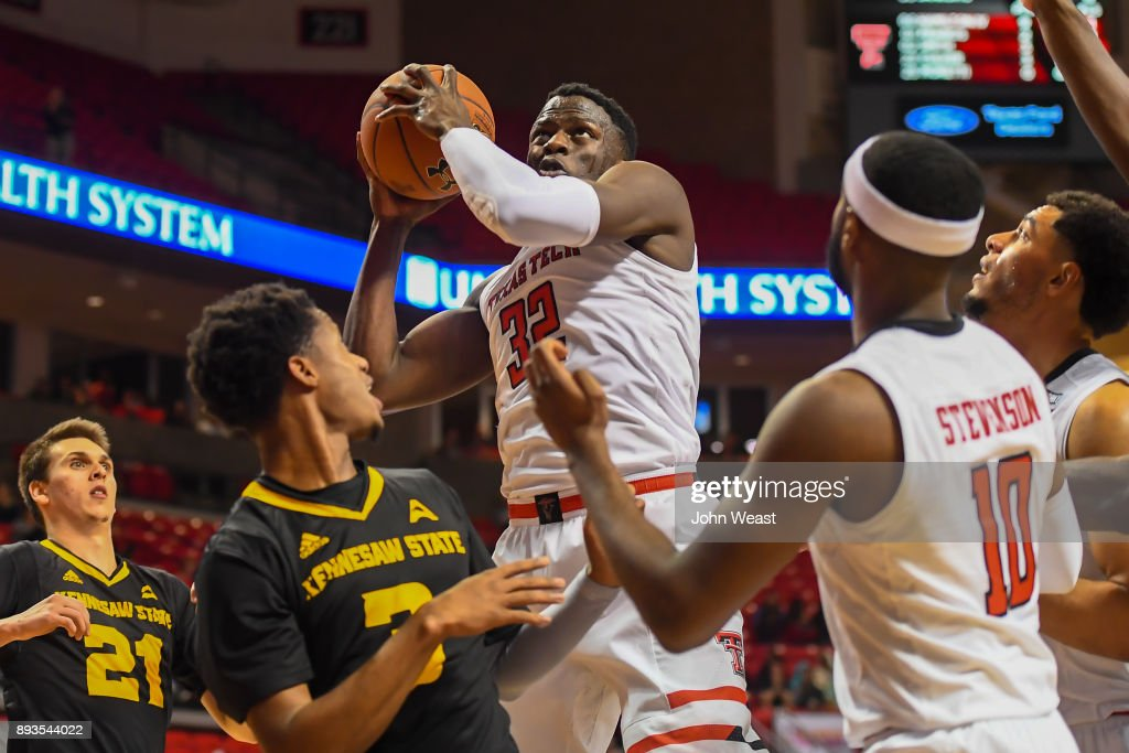 Norense Odiase #32 of the Texas Tech Red Raiders grabs the rebound during the game against the Kennesaw State Owls on December 13, 2017 at United Supermarkets Arena in Lubbock, Texas. Texas Tech defeated Kennesaw State 82-53.