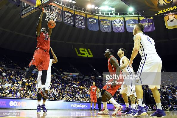 Norense Odiase of the Texas Tech Red Raiders scores during the second half of a game against the LSU Tigers at the Pete Maravich Assembly Center on...