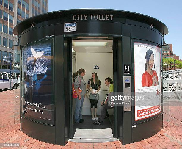 Norfolk County Agricultural School of Plymouth students from left to right Emma Brennan Melissa Mosher and Kory DelPrete visited the City Toilet in...