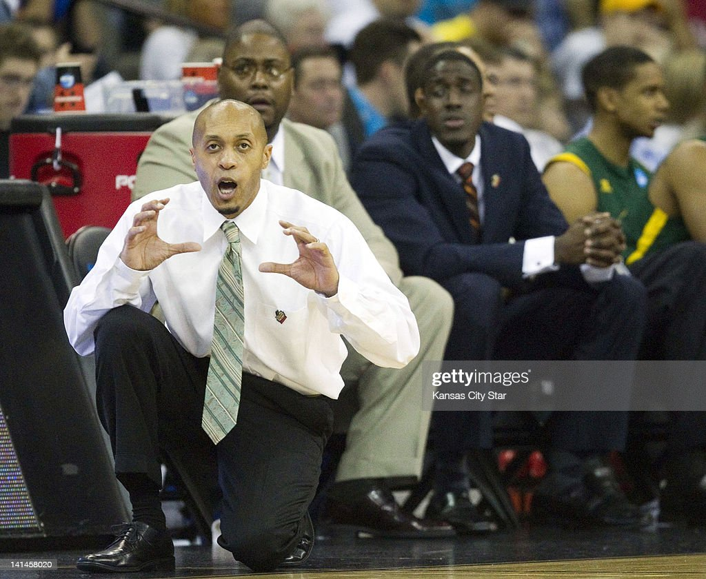 Norfolk State head coach Anthony Evans calls out to his players during the first half against Missouri in a second-round game in the NCAA men's basketball tournament at the CenturyLink Center in Omaha, Nebraska, Friday, March 16, 2012. Norfolk State upset second-seeded Missouri, 86-84.