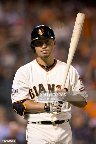 Nori Aoki of the San Francisco Giants at bat against the Arizona Diamondbacks during the third inning at ATT Park on April 16 2015 in San Francisco...