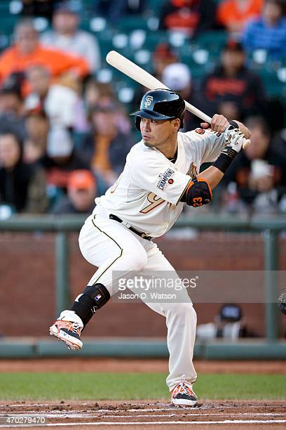 Nori Aoki of the San Francisco Giants at bat against the Arizona Diamondbacks during the first inning at ATT Park on April 18 2015 in San Francisco...