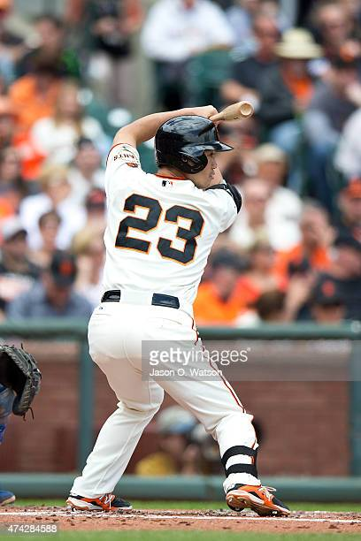 Nori Aoki of the San Francisco Giants at bat against the Los Angeles Dodgers during the first inning at ATT Park on May 21 2015 in San Francisco...