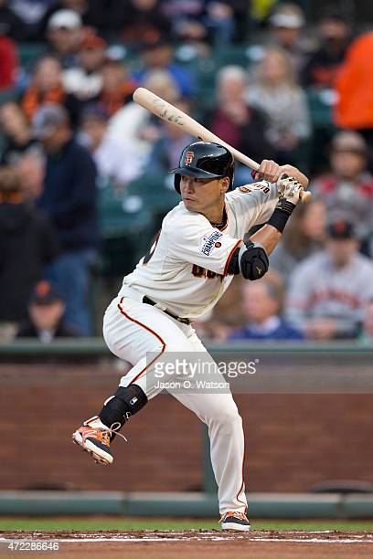 Nori Aoki of the San Francisco Giants at bat against the San Diego Padres during the first inning at ATT Park on May 5 2015 in San Francisco...