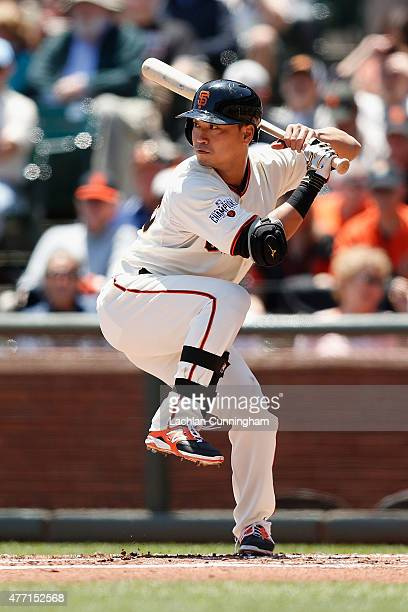 Nori Aoki of the San Francisco Giants at bat in the first inning against the Arizona Diamondbacks at ATT Park on June 14 2015 in San Francisco...