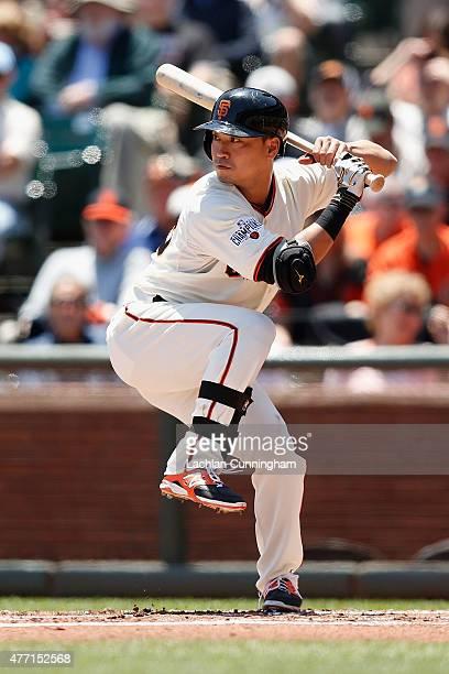 Nori Aoki of the San Francisco Giants at bat in the first inning against the Arizona Diamondbacks at ATT Park on June 14 2015 in San Francisco...