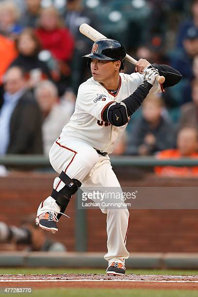 Nori Aoki of the San Francisco Giants at bat in the first inning against the Seattle Mariners at ATT Park on June 15 2015 in San Francisco California