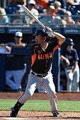 Nori Aoki of the San Francisco Giants bats in the fourth inning against the San Diego Padres on March 10 2015 in Peoria Arizona