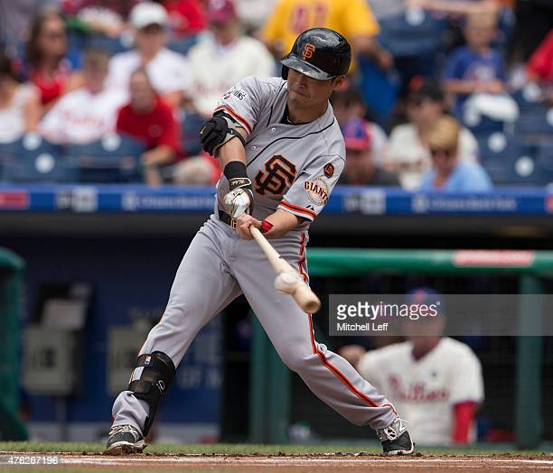 Nori Aoki of the San Francisco Giants flies out in the top of the first inning against the Philadelphia Phillies on June 7 2015 at the Citizens Bank...