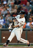 Nori Aoki of the San Francisco Giants grounds out to first base against the Chicago Cubs in the bottom of the first inning at ATT Park on August 25...