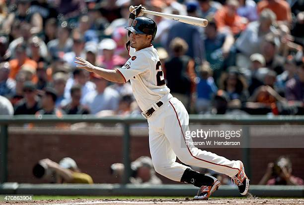 Nori Aoki of the San Francisco Giants grounds out to shortstop against the Los Angeles Dodgers in the bottom of the six inning at ATT Park on April...