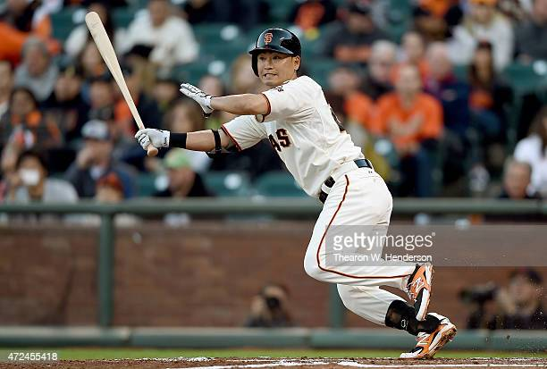 Nori Aoki of the San Francisco Giants grounds out to third against the Miami Marlins in the bottom of the first inning at ATT Park on May 7 2015 in...