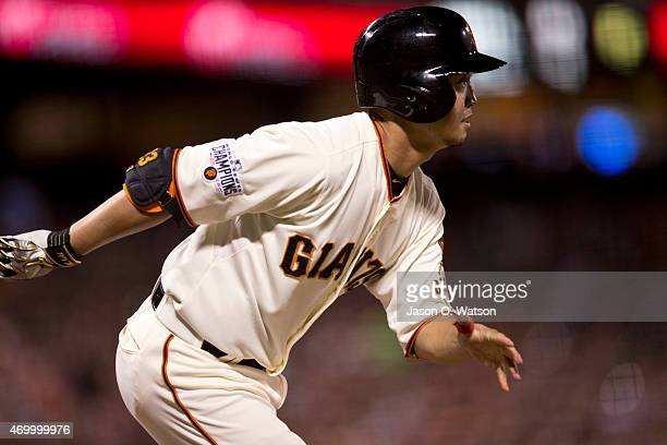 Nori Aoki of the San Francisco Giants hits a single against the Arizona Diamondbacks during the third inning at ATT Park on April 16 2015 in San...