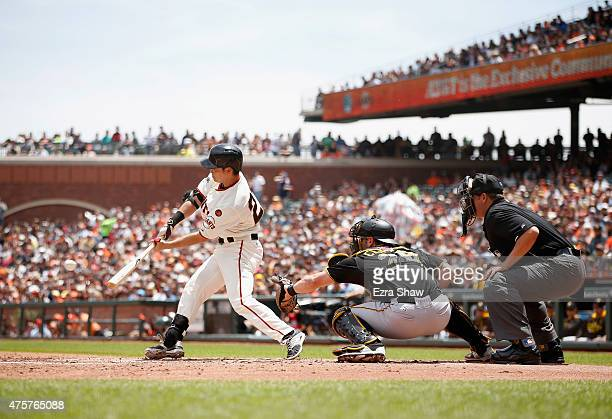 Nori Aoki of the San Francisco Giants hits a single in the third inning against the Pittsburgh Pirates at ATT Park on June 3 2015 in San Francisco...