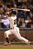 Nori Aoki of the San Francisco Giants hits an RBI single against the Los Angeles Dodgers during the fourth inning at ATT Park on April 21 2015 in San...