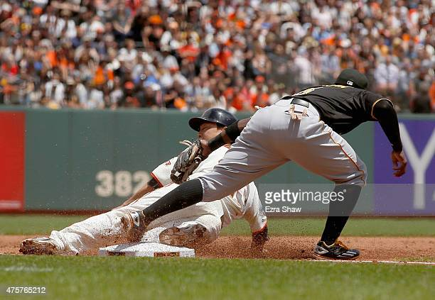 Nori Aoki of the San Francisco Giants is tagged out by Josh Harrison of the Pittsburgh Pirates on a stolen base attempt in the third inning at ATT...