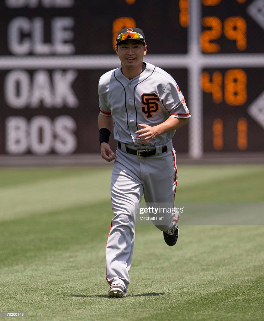 Nori Aoki #23 of the San Francisco Giants warms up prior to the game against the Philadelphia Phillies on June 7, 2015 at the Citizens Bank Park in Philadelphia, Pennsylvania.