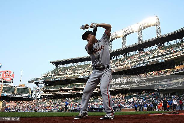 Nori Aoki of the San Francisco Giants warms up prior to the game against the New York Mets at Citi Field on June 10 2015 in Flushing neighborhood of...