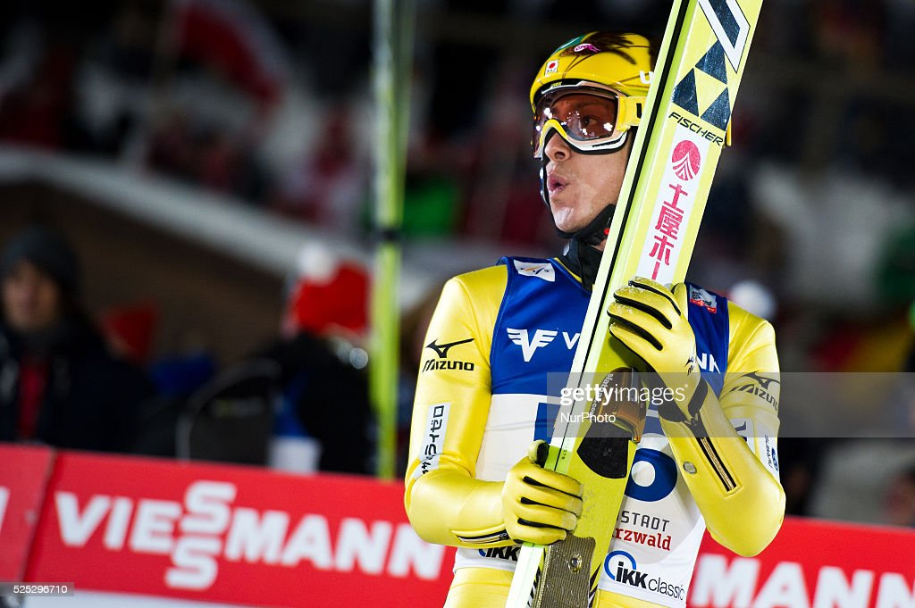 Noriaki Kasai after his jump in the Large Hill Individual competition on day one of the FIS Ski Jumping World Cup on February 7 2015 in Titisee...