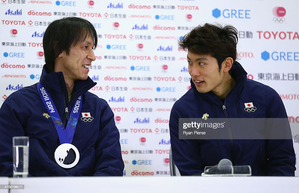 <a gi-track='captionPersonalityLinkClicked' href=/galleries/search?phrase=Noriaki+Kasai&family=editorial&specificpeople=722779 ng-click='$event.stopPropagation()'>Noriaki Kasai</a> (L) and <a gi-track='captionPersonalityLinkClicked' href=/galleries/search?phrase=Reruhi+Shimizu&family=editorial&specificpeople=9641103 ng-click='$event.stopPropagation()'>Reruhi Shimizu</a> (R) of Japan attend a Japanese medalist press conference at Japan House on day 11 of the Sochi 2014 Winter Olympics on February 18, 2014 in Sochi, Russia.