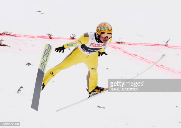Noriaki Kasai from Japan soars during the FIS Ski Jumping World Cup Men´s HS225 in Vikersund on March 19 2017 / AFP PHOTO / NTB Scanpix / Terje...
