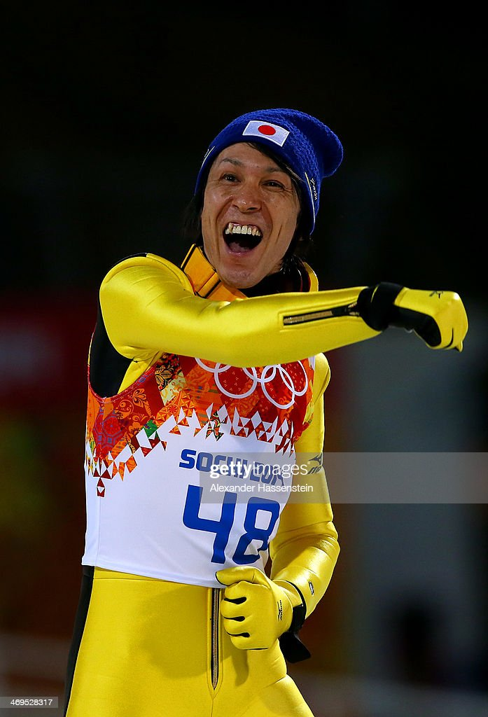 Noriaki Kasai of Japan celebrates after the Men's Large Hill Individual Final Round on day 8 of the Sochi 2014 Winter Olympics at the RusSki Gorki Ski Jumping Center on February 15, 2014 in Sochi, Russia.