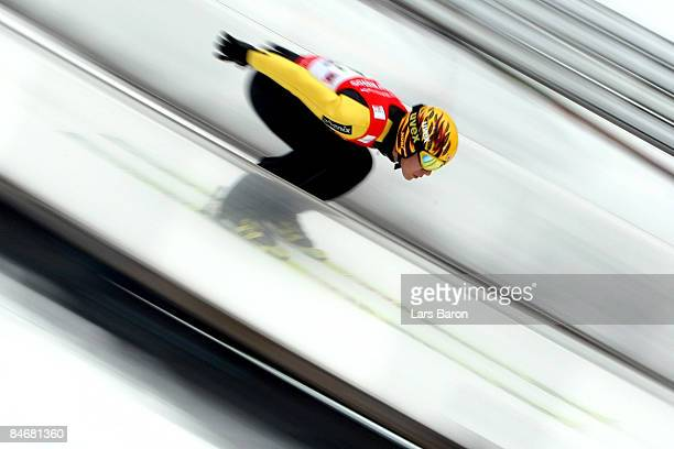 Noriaki Kasai of Japan competes during day two of the FIS Ski Jumping World Cup at the Muehlenkopfschanze on February 7 2009 in Willingen Germany