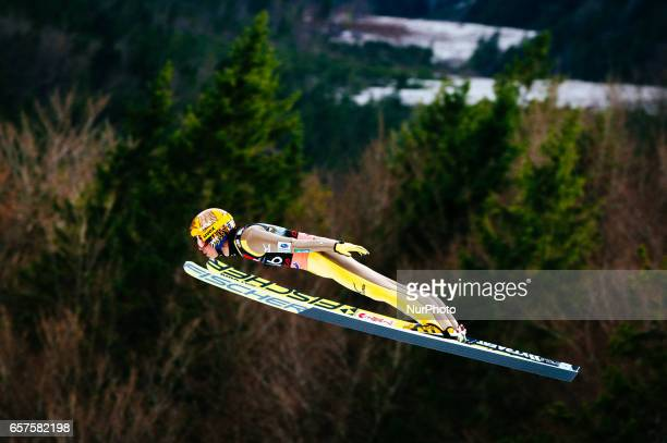 Noriaki Kasai of Japan competes during Planica FIS Ski Jumping World Cup qualifications on the March 23 2017 in Planica Slovenia