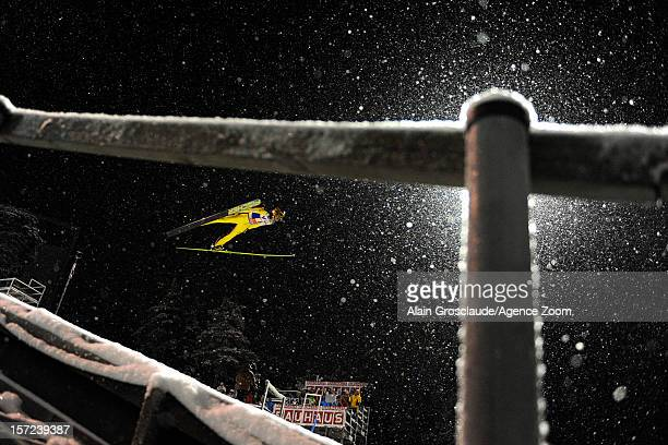 Noriaki Kasai of Japan competes during the FIS Ski Jumping World Cup Men's HS142 on November 30 2012 in Kuusamo Finland