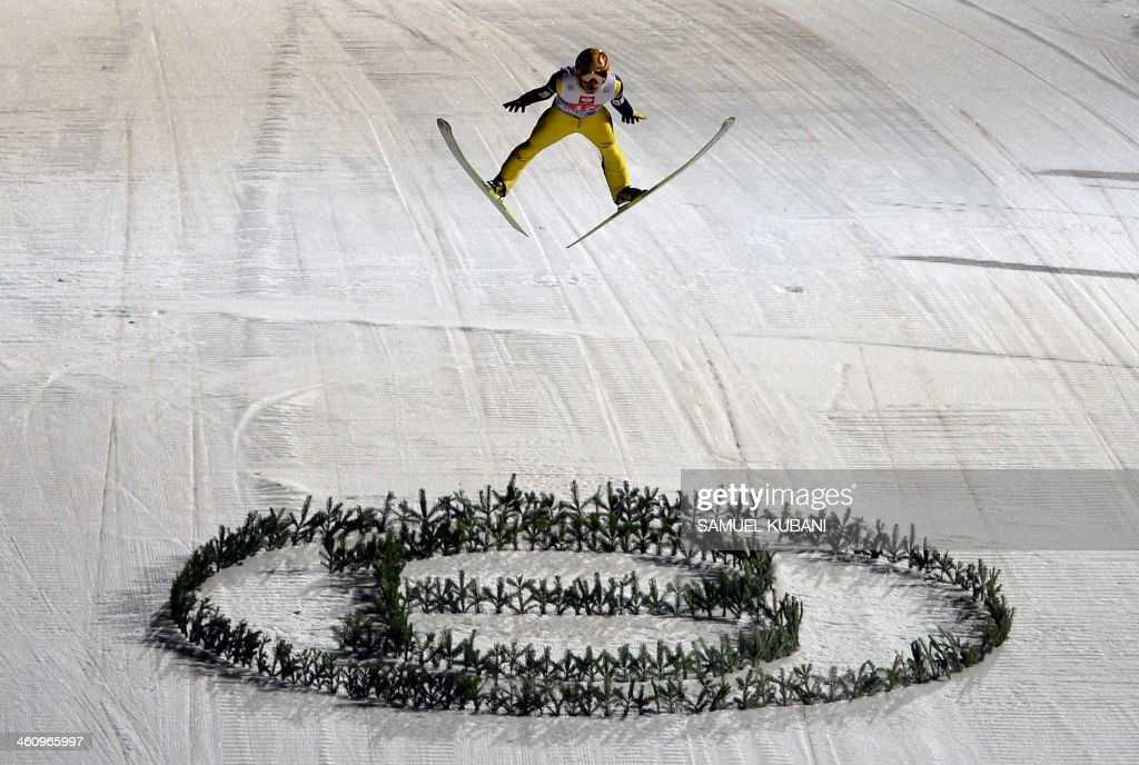 Noriaki Kasai of Japan competes during the Four Hills competition of the FIS Ski Jumping World cup in Bischofshofen on January 6 2014 AFP...