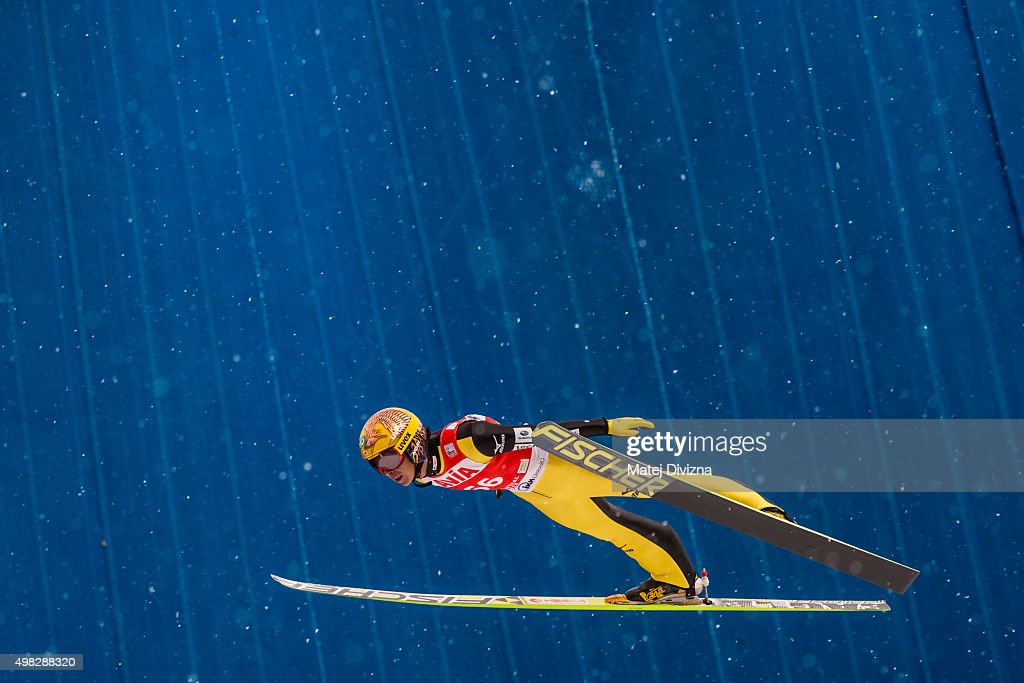 Noriaki Kasai of Japan competes during the individual competition at the FIS World Cup Ski Jumping day three on November 22, 2015 in Klingenthal, Germany.