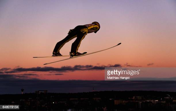 Noriaki Kasai of Japan competes during the Men's Team Ski Jumping HS130 at the FIS Nordic World Ski Championships on March 4 2017 in Lahti Finland