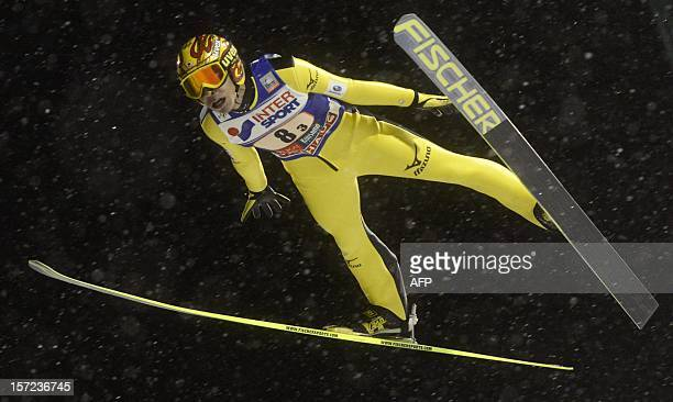 Noriaki Kasai of Japan competes during the Ski Jumping Team HS 142 Competition of the FIS Ski Jumping World Cup in Kuusamo Finland on November 30...