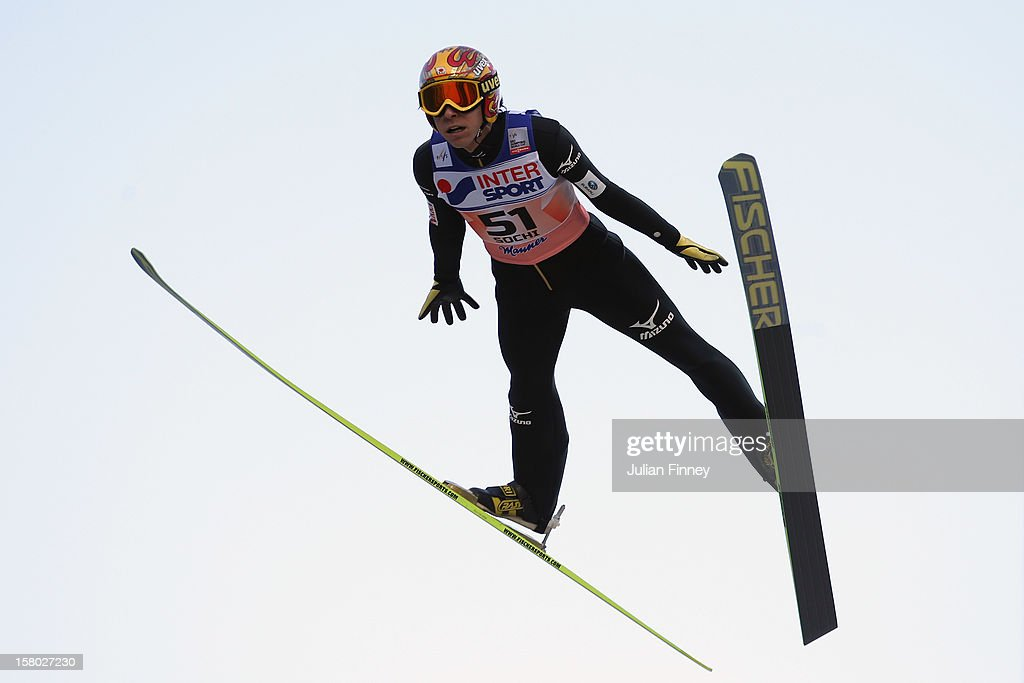 Noriaki Kasai of Japan competes in a Ski Jump during the FIS Ski Jumping World Cup at the RusSki Gorki venue on December 9, 2012 in Sochi, Russia.