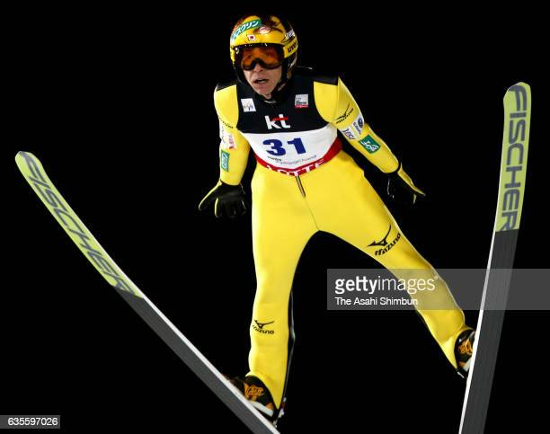 Noriaki Kasai of Japan competes in the first jump during the Men's Normal Hill during day one of the FIS Ski Jumping World Cup PyeongChang at...