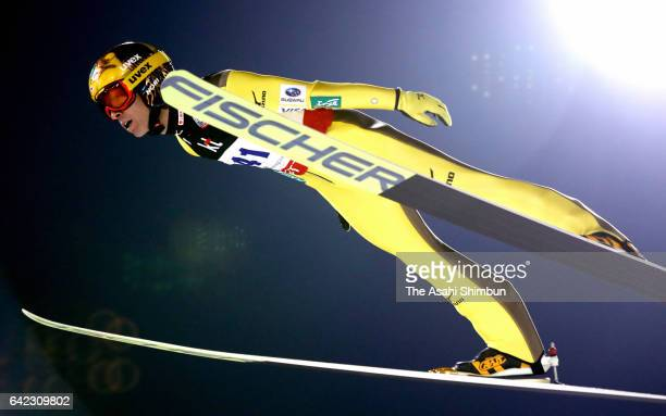 Noriaki Kasai of Japan competes in the first jump in the Men's Normal Hill during day two of the FIS Ski Jumping World Cup PyeongChang at Alpensia...