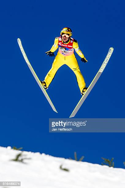 Noriaki Kasai of Japan competes in the first run of flying hill team competition of the FIS Ski Jumping World Cup at Planica on March 19 2016 in...