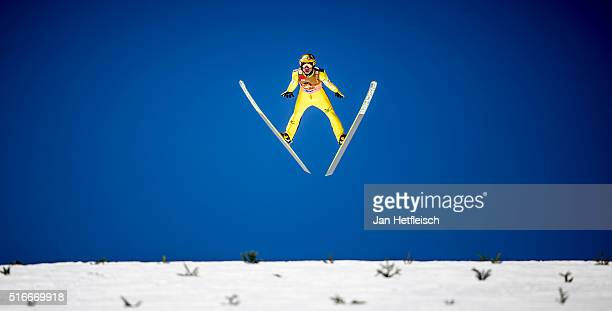 Noriaki Kasai of Japan competes in the first run of the FIS Ski Jumping World Cup at Planica on March 20 2016 in Planica Slovenia