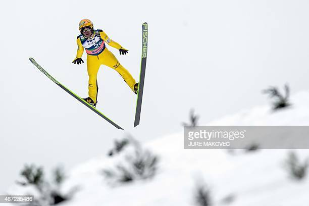 Noriaki Kasai of Japan competes in the FIS Ski Flying World Cup Individual Event in Planica Slovenia on March 22 2015 AFP PHOTO / JURE MAKOVEC