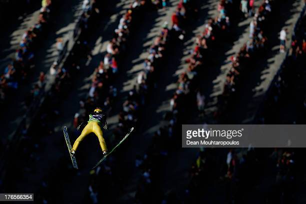 Noriaki Kasai of Japan competes in the FIS Ski Jumping Grand Prix Mens Large Hill Individual Training Session on August 15 2013 in Courchevel France