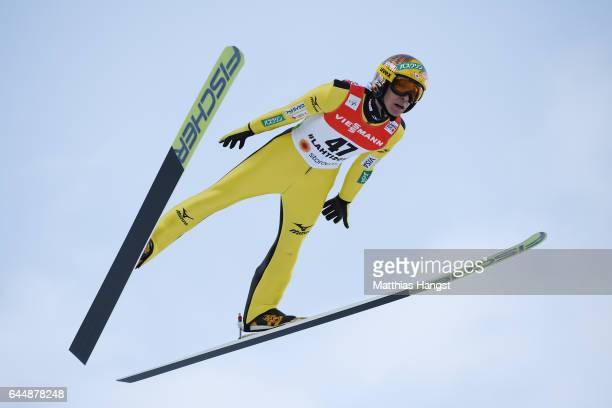 Noriaki Kasai of Japan competes in the Men's Ski Jumping HS100 qualification round during the FIS Nordic World Ski Championships on February 24 2017...