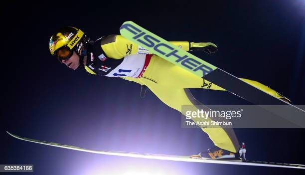 Noriaki Kasai of Japan competes in the qualification of the FIS Ski Jumping World Cup PyeongChang at Alpensia Ski Jumping Center on February 14 2017...