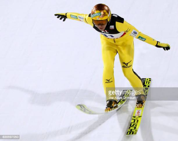 Noriaki Kasai of Japan competes in the second jump during the Men's Normal Hill during day one of the FIS Ski Jumping World Cup PyeongChang at...