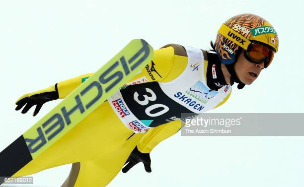 Noriaki Kasai of Japan competes in the second jump in the Men's Individual Large Hill during day two of the FIS Ski Jumping World Cup Oslo on March...