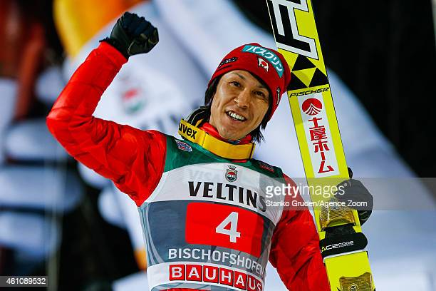 Noriaki Kasai of Japan during the FIS Ski Jumping World Cup Vierschanzentournee on January 06 2015 in Bischofhofen Austria