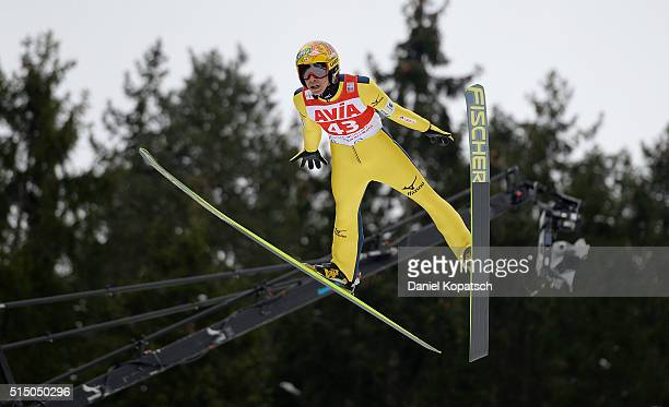 Noriaki Kasai of Japan jumps during the first round of the FIS Ski Jumping Worldcup on March 12 2016 in TitiseeNeustadt Germany