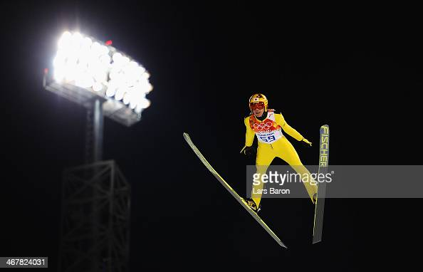 Noriaki Kasai of Japan jumps during the Men's Normal Hill Individual Qualification on day 1 of the Sochi 2014 Winter Olympics at the RusSki Gorki Ski...